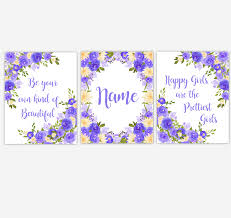 Watercolor Flower Wall Art Purple Yellow Floral Girl Bedroom Art Prints Baby Nursery Decor Set Of 3 Unframed Prints Dezignerheart Designs C Personalized Baby Nursery Decor Gifts Canvas