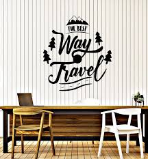 Vinyl Wall Decal The Best Way Travel Phrase Traveling Journey Stickers Wallstickers4you