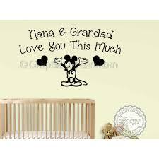 Nana Grandad Love You Wall Quote Mickey Mouse Nursery Bedroom Wall Sticker Decor Decal