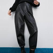 black faux leather pants las