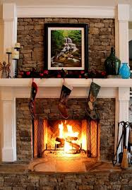 stacked stone fireplace love the