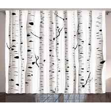 Birch Tree Curtains 2 Panels Set Forest Seasonal Nature Woodland Leafless Branches Grove Botany Illustration Window Drapes For Living Room Bedroom 108w X 96l Inches Black And White By Ambesonne Walmart Com