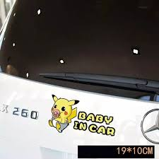 Pokemon In Car Decal Baby Pikachu In Car Car Stickers Car Decals New Cars