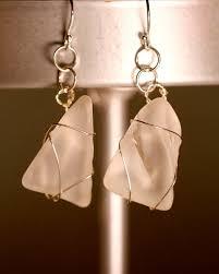 rare white sea glass earrings 1100