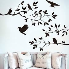 Amazon Com Kiki Monkey Birds With Tree Branch Wall Decal For Living Room Home Kitchen