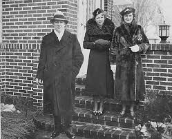 Governor Floyd B. Olson with wife Ada Olson, and daughter Patricia, leaving  home for Governor Olson's innaugeration at the St. Paul Capitol :  Collections Online : mnhs.org