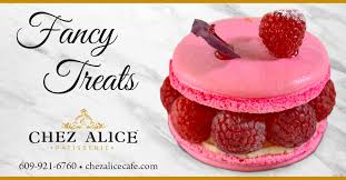 Chez Alice Princeton - Treat yourself to an individual Ispahan with rose  cream, lichi confit & fresh raspberries in an oversized macaron. Call  #ChezAlice at 609-921-6760 to order ahead. Visit our website