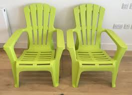 2 x garden chairs durable plastic lime
