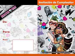 Invitaciones De Cumpleanos Para Imprimir De Monster High