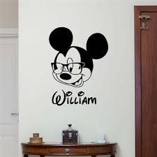Personalized Name Mickey Mouse Wall Sticker Custom Name Baby Girl Boy Kids Room Wall Art Design Bedroom Nursery Poster M686 Sale Up To 70 Stickersmegastore Com