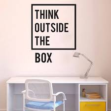 Vinyl Wall Decal Quote Inspirational Office Wall Decor Stickers Think Outside The Box Quotes Office Wall Art Murals B39 Wall Decals Quotes Vinyl Wall Decalswall Decor Sticker Aliexpress
