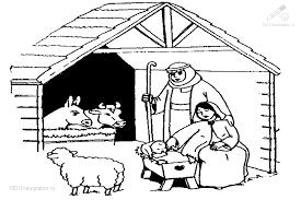 Kleurplaat Kerst Jezus Kerststal