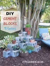 diy cement blocks plant shelf