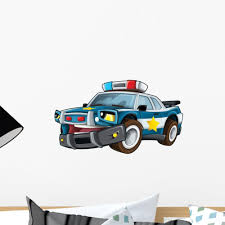 Cartoon Police Car Wall Decal Wallmonkeys Com