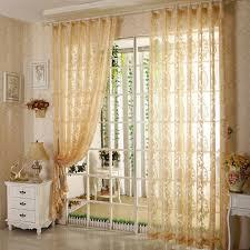 living room home light yellow sheer curtain