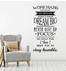 Vinyl Wall Decal Motivation Office Space Work Hard Dream Quote Stickers G2706 Ebay