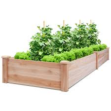 costway wooden vegetable raised garden