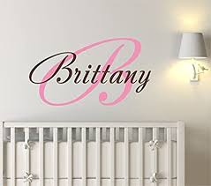 Amazon Com Baby Girl Initial Personalized Custom Name Vinyl Wall Decal 20 W By 13 H Girl Name Wall Decals Wall Decal Name Wall Decal Nursery Name Decal Girls Names Plus Free White