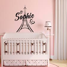 Personalized Paris Wall Decals Vinyl Stickers Girl Name Paris Theme Bedroom Decor Eiffel Tower Decal Mural Nursery Kids G205 Wall Stickers Aliexpress