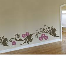 Curly Floral Bottom Border Wall Decal Sticker