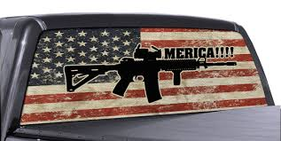 Fgd Brand Ar 15 Merica Truck Rear Window Wrap Full Color Distressed American Flag Perforated Vinyl Decal Family Graphix Llc