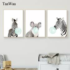 Baby Animal Wall Art Zebra Elephant Giraffe Canvas Poster Prints Nursery Painting Nordic Pictures Kids Bedroom Home Decoration Angels Home Decor