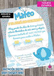 Baby Shower Invitacion Digital Bebe Nino Fiesta Elefante Baby