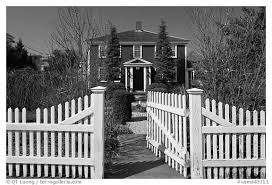 Black And White Picture Photo White Picket Fence And House Provincetown Cape Cod Massachussets Usa