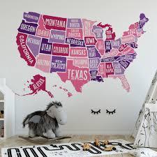 Wall Decal Usa America Map Boys Decor United States Atlas Motomoms Decor