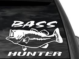 Fgd Bass Hunter 12 X7 Fishing Window Decal Sticker In White Car Truck Suv Boat Family Graphix Llc