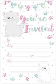 Amazon Com Kitty Cat Fiesta De Cumpleanos Invitaciones Llenar