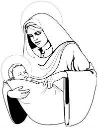 Kleuren Nu Kerstmis Maria Met Jezus Kleurplaten
