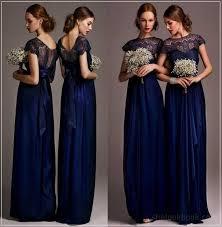 long bridesmaid blue dresses cap