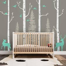 Forest Birch Tree Wall Decal With Deer Baby Nursery Wall Etsy