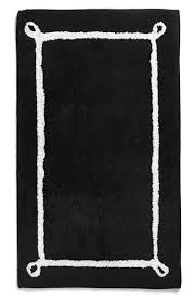 kate spade black white border bath rug