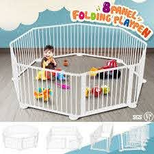 8 Panel Wooden Playpen Kids Baby Toddler Fence Play Yard White Crazy Sales
