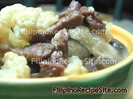 beef with mushroom and cauliflower stir