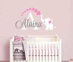 Custom Vinyl Wall Decal Mural Of Elephant And Name For Kids Room Nursery Or Playroom The Decal Can Be Enlarged Or Mad Baby Girl Room Baby Decor Baby Room Art