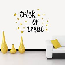 Amazon Com N Sunforest Vinyl Wall Decal Letters Trick Or Treat Star Pattern Halloween Wall Art Removable Decal Stickers Decorative For Living Room Bedroom Kitchen 22 X30 Home Kitchen