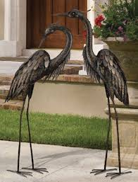 garden crane pair coastal metal statues