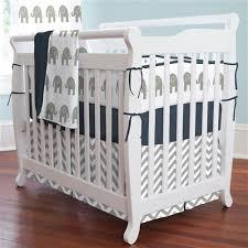 gray elephants mini crib bedding