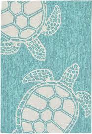 turtle key sea turtle rug blue green