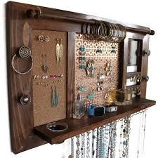 jewelry organizer wooden wall hanging