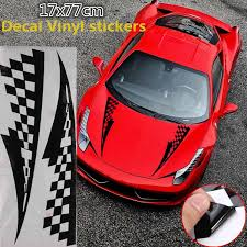 17x77cm Black Car Decal Vinyl Graphics Stickers Hood Decals Checkered Flags Stripe Cg169 Stickers Hood Graphic Stickercheckered Flag Aliexpress
