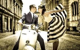 vintage scooter vespa street boy girl kiss love hd all