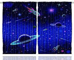 Window Curtain Space Stars Nursery Kids For Living Room Curtains 50 Blackout Ebay