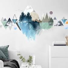 Elegant Mountain Decals Blue Nature Murals Tropical Home Etsy In 2020 Wall Art Living Room Tropical Home Decor Mountain Decal