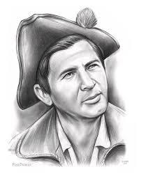 Fess Parker Patriot Drawing by Greg Joens