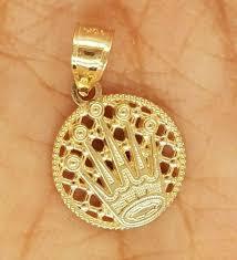 10k yellow gold plain round disc charm