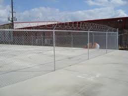 6 Ft 1 Ft Chain Link Fence With Razor Ribbon 6 Ft Of Fabric With 1 Ft Of 3 Strand Barb Wire Chain Link Fence Security Fence Building A Fence